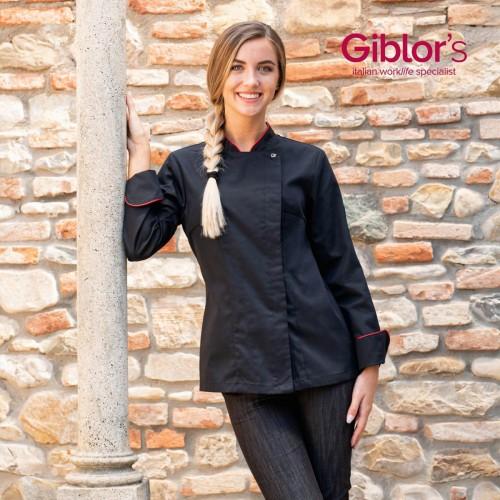 Giblor´s Emy dámský kuchařský rondon dlouhý rukáv - barva černá