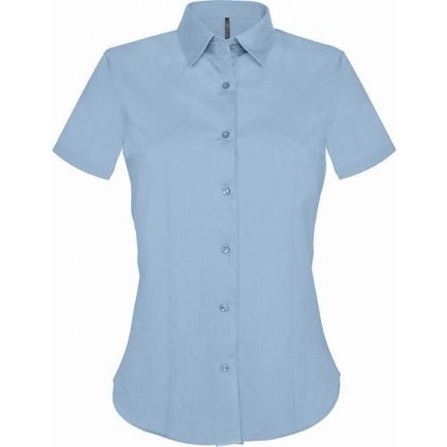 Košile dámská strečová s krátkým rukávem - barva světle modrá 72b9463c46